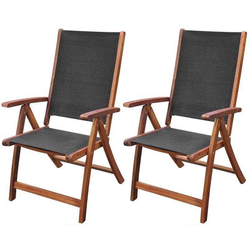 Stupendous Vidaxl 2X Acacia Wood Folding Chairs Black Outdoor Garden Short Links Chair Design For Home Short Linksinfo