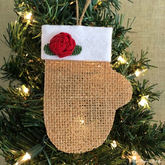 Christmas Mitten Ornament Burlap Ornament Christmas Decorations Gift Topper Burlap Christmas Ornaments Country Christmas Decorations Burlap Ornaments