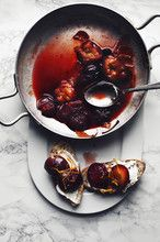 roasted plums with a juice and zest of 1 orange, star anise and brown sugar. Serve with a good bread and creamy, tangy cheese like ricotta or mix these plums together with your breakfast yogurt and some toasted nuts.