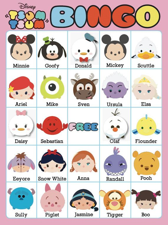 Tsum Tsum Bingo 2 : bingo, Bingo, Cards, Unique, EXTRA, Bee3Shop, Party,, Disney, Tsum,, Party
