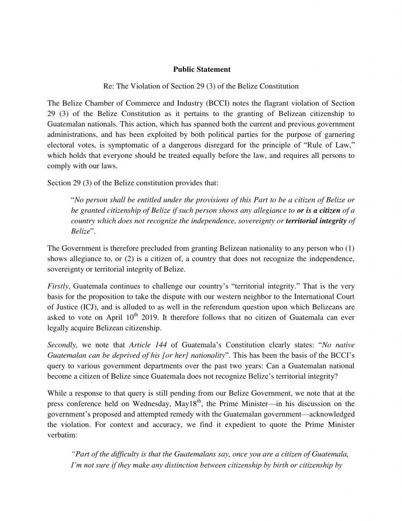 BCCI Public Declaration on Guatemala Citizenship in Belize