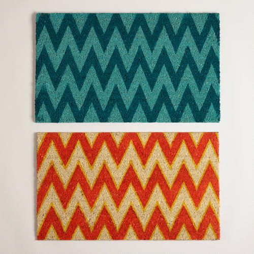 Add The Teal Chevron Rug In Front Of The Sliding Glass