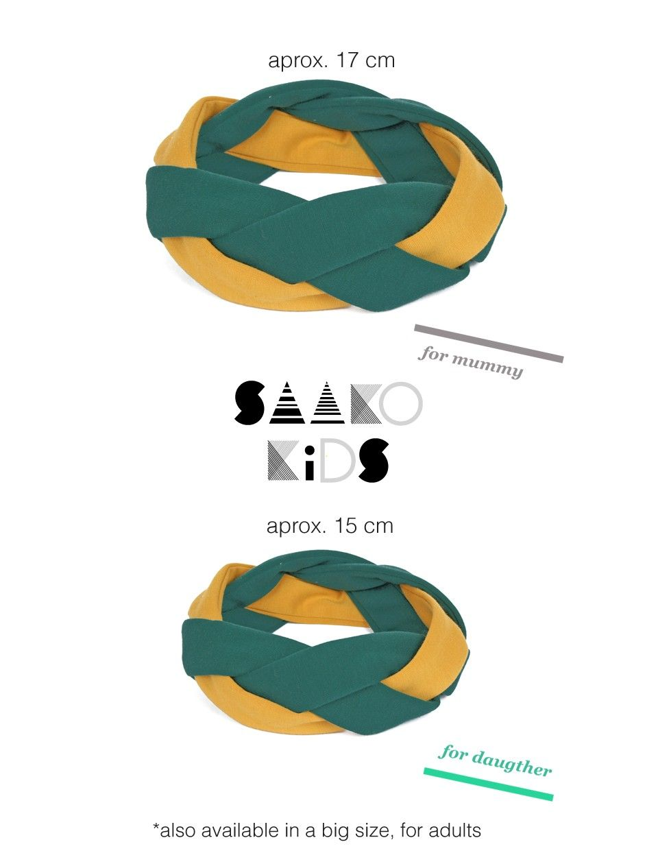 Matching headbands for mom and daughter. Perfect for this fall season!! Green and yellow -  click through for more colors and patterns!
