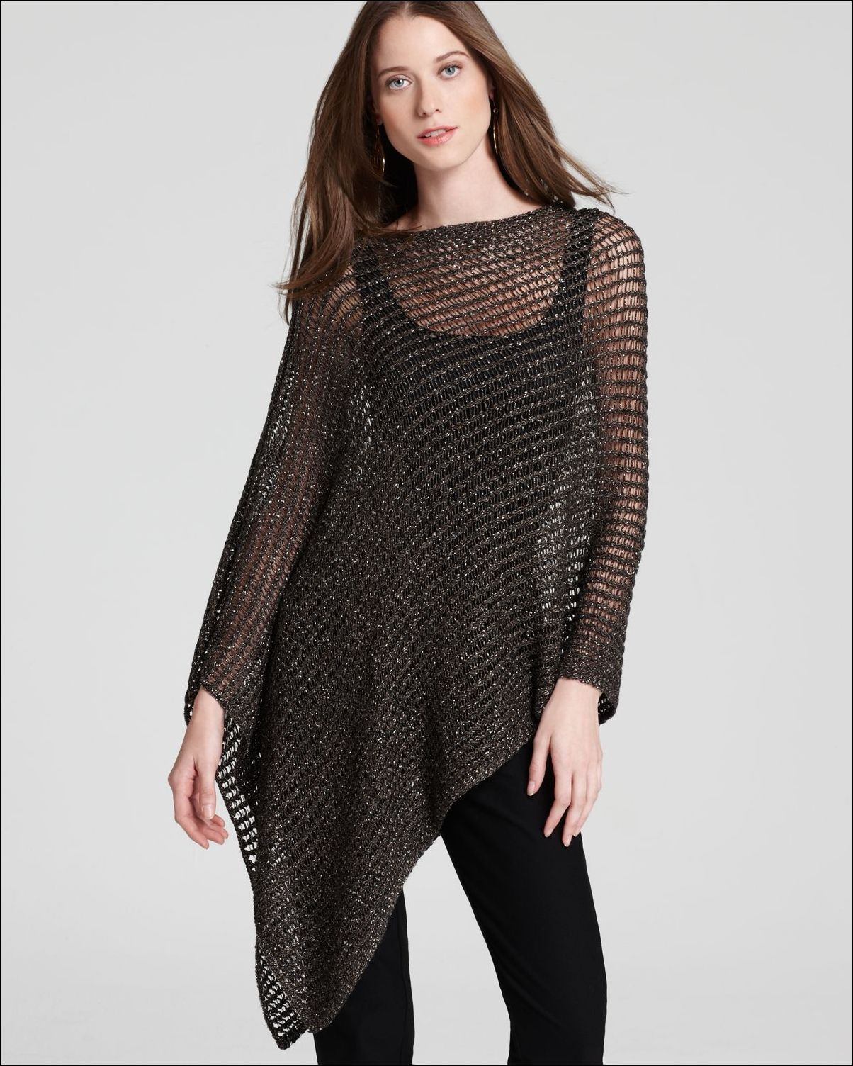 670060881 Eileen Fisher Poncho Black Net | Ponchos, Capes & Cover-ups in 2019 ...