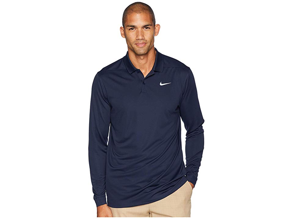 0e16e0a20 Nike Golf Dry Victory Polo Long Sleeve (Obsidian/Flint Silver) Men's  Clothing. Achieve your next victory with sleek high-performance style.