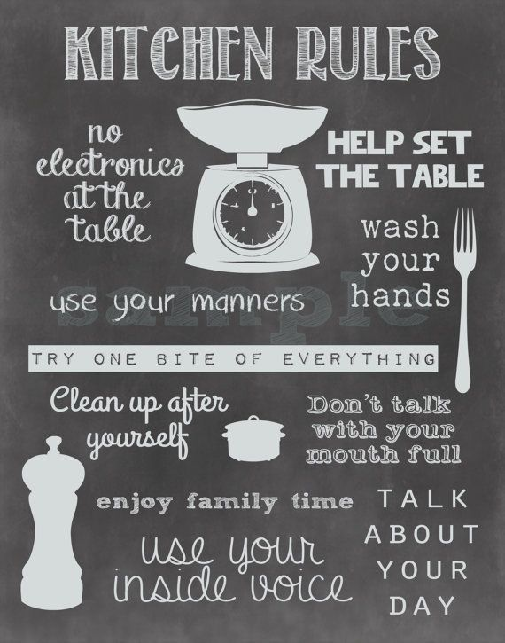 Kitchen Rules Chalkboard Printable Home Decor Sign