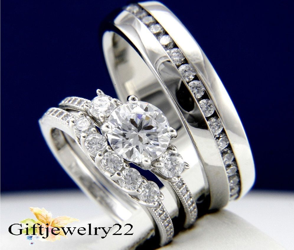 14K White Gold Diamond Trio Set Matching Engagement Ring Wedding