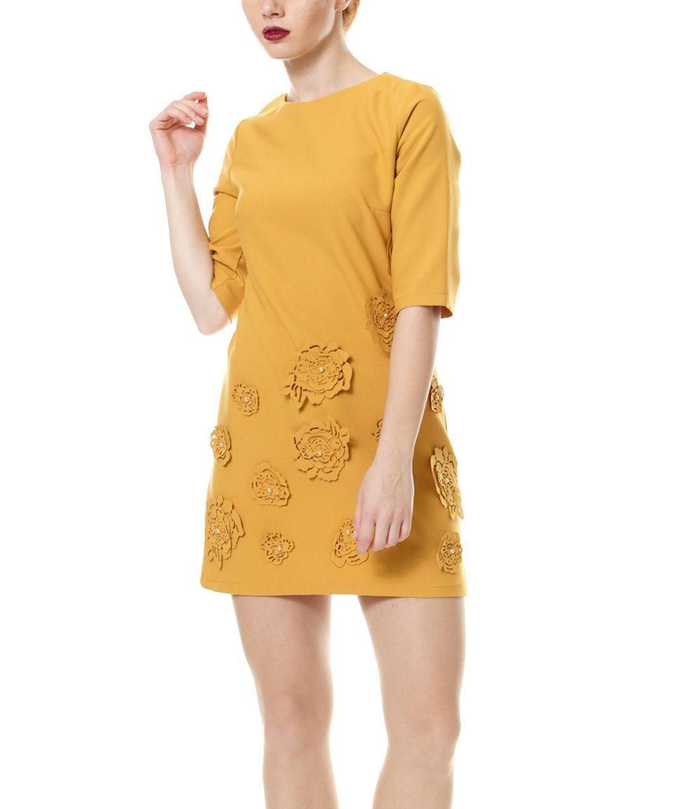 D'Shea Knitwear Mustard Floral Appliqué Dress by D'Shea Knitwear #zulily #zulilyfinds
