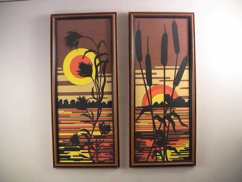 Vintage Pr Mid-Century Modern Pop Art Sunset On Water Framed Prints #midcenturymodern
