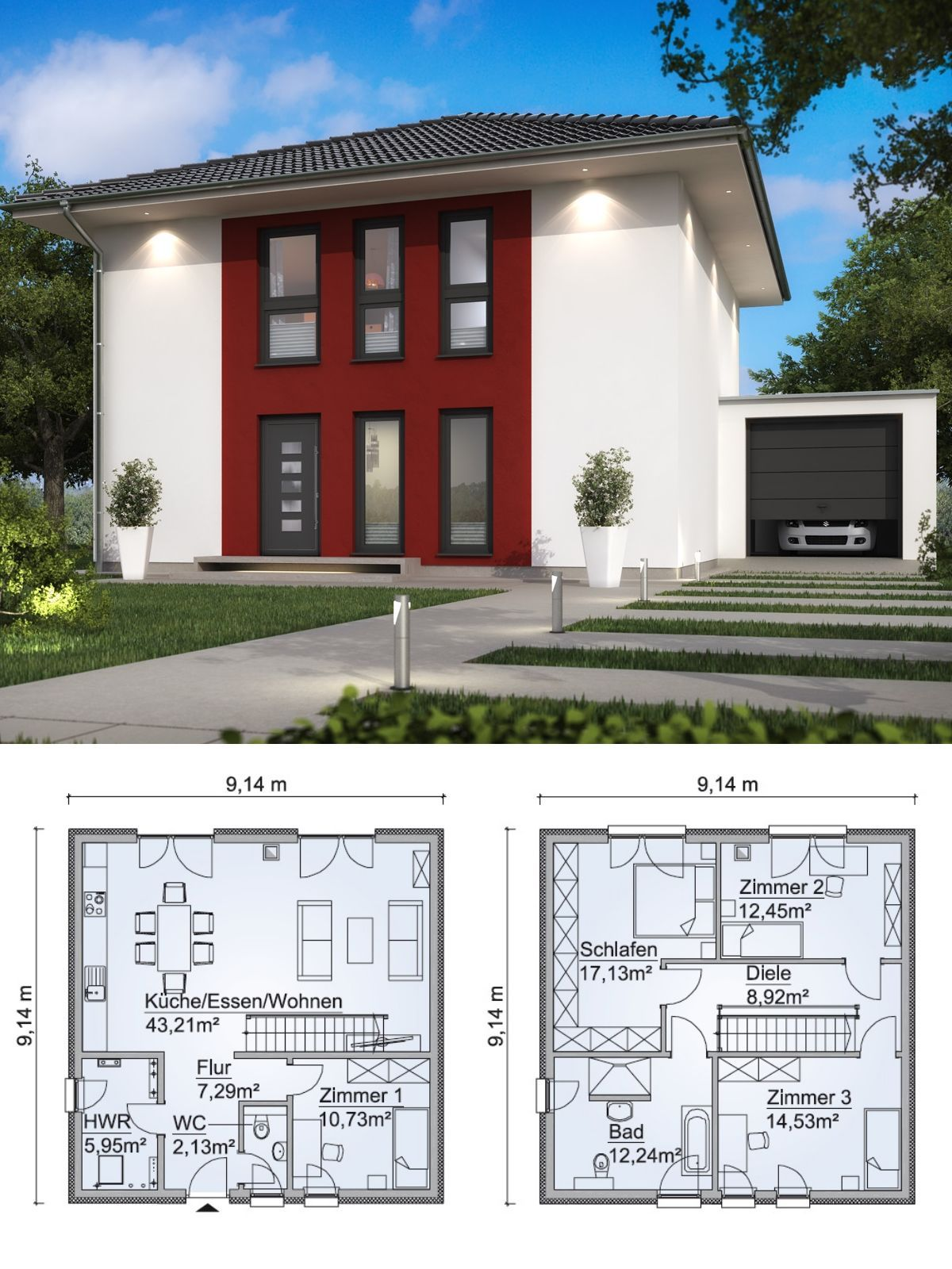 Charmant Stadtvilla Neubau Modern Grundriss Mit Garage U0026 Walmdach Architektur   Haus  Bauen Ideen Fertighaus SH 135