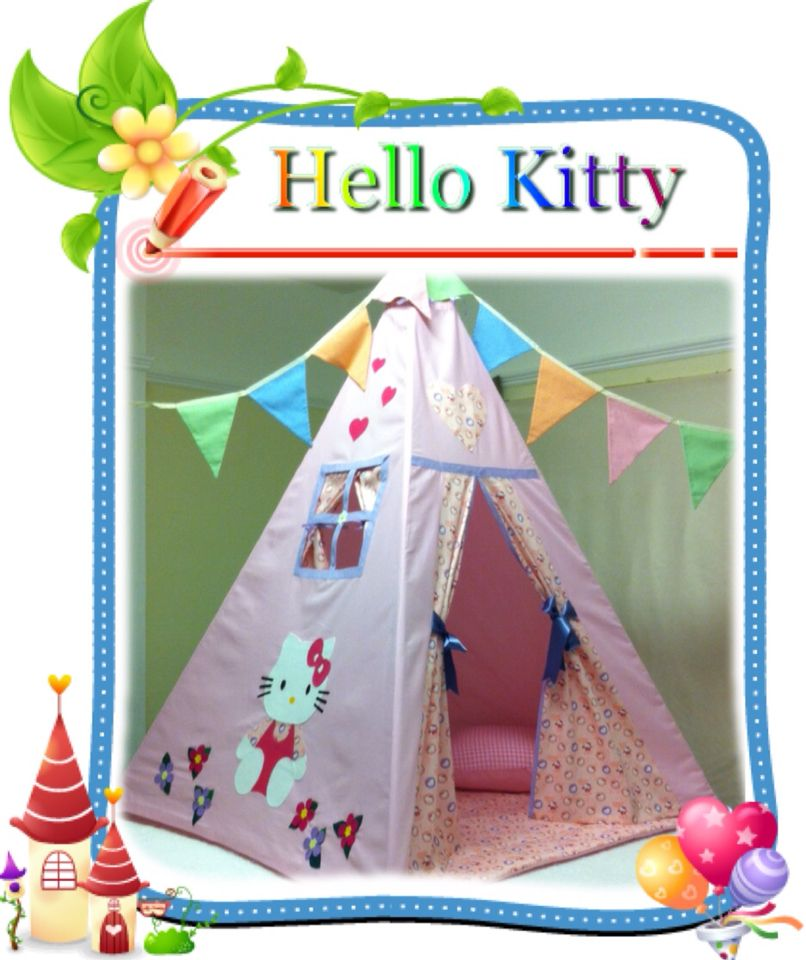 Love my teepee uku0027s leading handmade bespoke and personalised childrens teepee tents. Toys cushions play mats for boys and girls.  sc 1 st  Pinterest & Hello Kitty Girls Pink Teepee | Peekaboo Teepees 0 - 12 | Pinterest ...