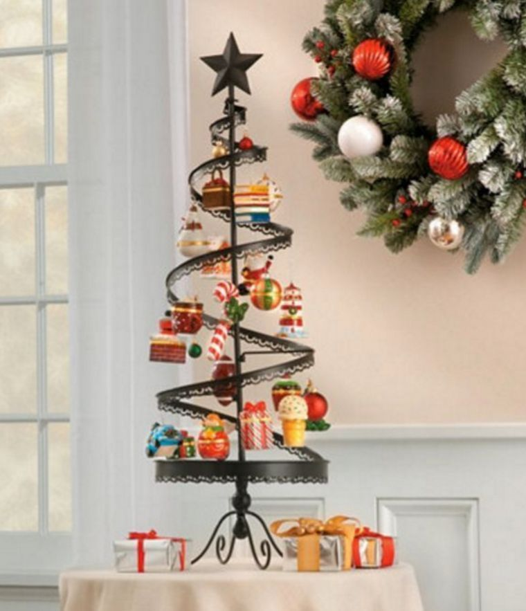 Metal spiral christmas ornament tree tabletop home decor