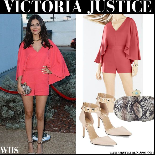 82119d1bc2b Victoria Justice in coral cape sleeves short romper  victoriajustice   fashion  romper  coral  red  frontrow  summer