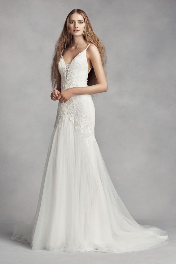 d6576a2573119 Tulle White by Vera Wang Plunging Sheath Wedding Dress - Ivory, 12 ...