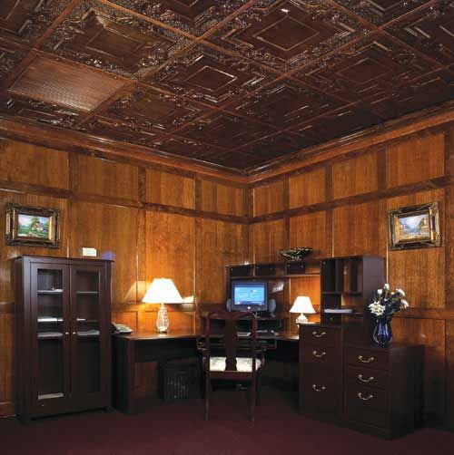 Custom Antique Copper Tin Ceilings Are A Great Color Choice When Matching The Wood Of An Office Or Librar Tin Ceiling Tin Backsplash American Tin Ceiling Tiles