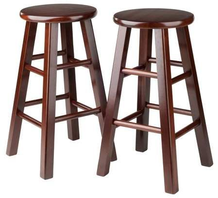 Pleasant Winsome Wood Pacey 24 Counter Stool Set Of 2 Walnut Pabps2019 Chair Design Images Pabps2019Com
