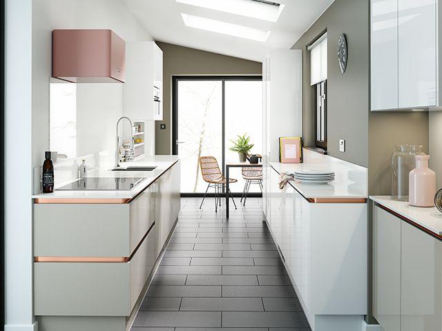 White Galley Kitchen in 2020 Wren kitchen, Galley