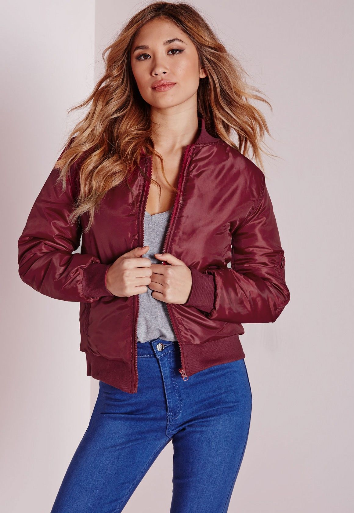 Missguided - Nylon Slim Fit Bomber Jacket Oxblood | clothes ...