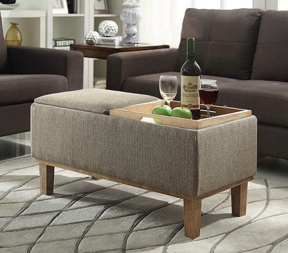 Storage Ottoman Coffee Table Modern Eco Friendly With Reversible