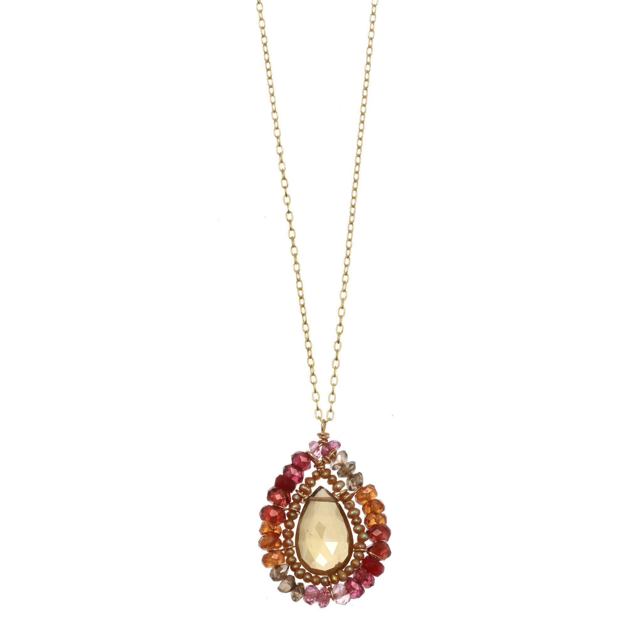 Michelle Pressler Necklace Whiskey Quartz and Ruby 2357 Artistic