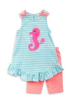 Rare Editions  2-Piece Seahorse Tank and Dot Short Set Girls 4-6x