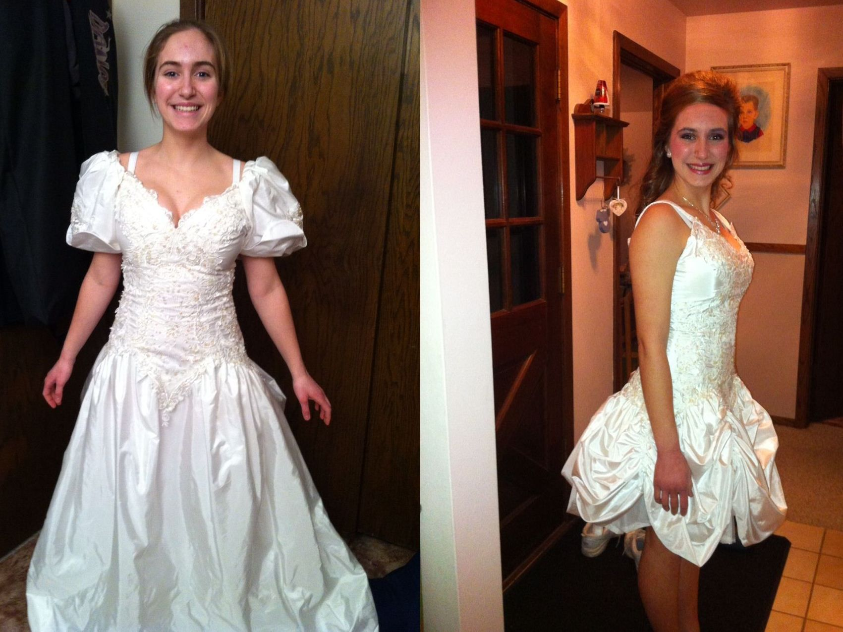 A re-purposed wedding dress for a teenager to go to the school dance. Very  Unique.
