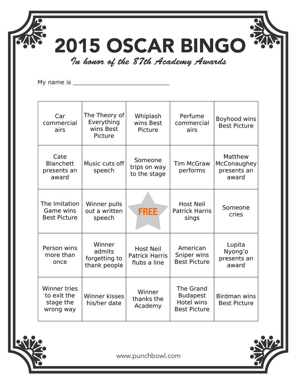 Printable Oscar Bingo for your Academy Awards party!
