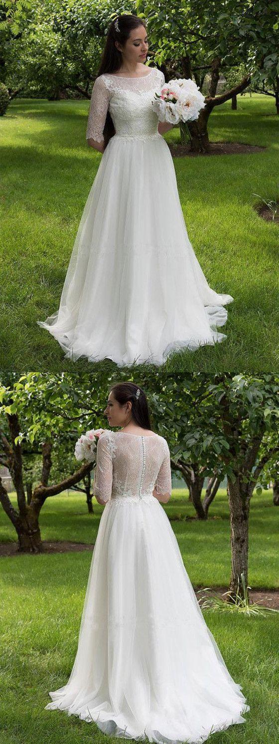Elegant aline half sleeves lace top tulle cheap long wedding dress
