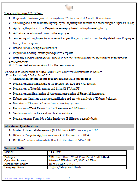 Experience Accountant Resume Format (2) | Career | Pinterest ...