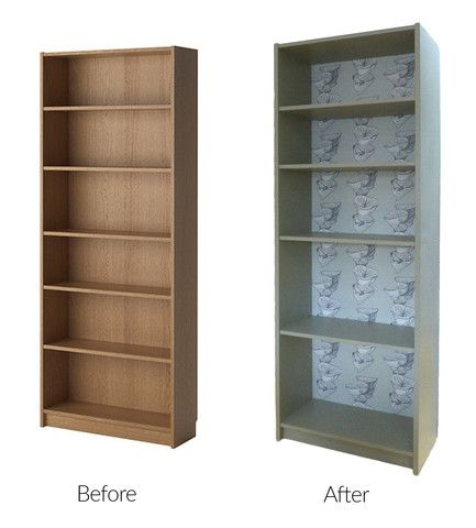 Inspiration and an upcycling tutorial for a billy bookcase for Ikea backless bookcase