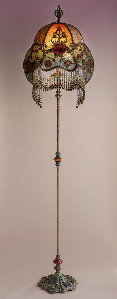Nightshades Bohemian Victorian Blue Crab Floor Lamp Lamp Home Lighting Floor Lamp