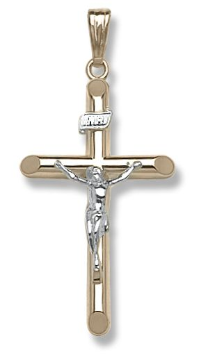 14k yellow gold large hollow tube crucifix, 20 inch chain included.