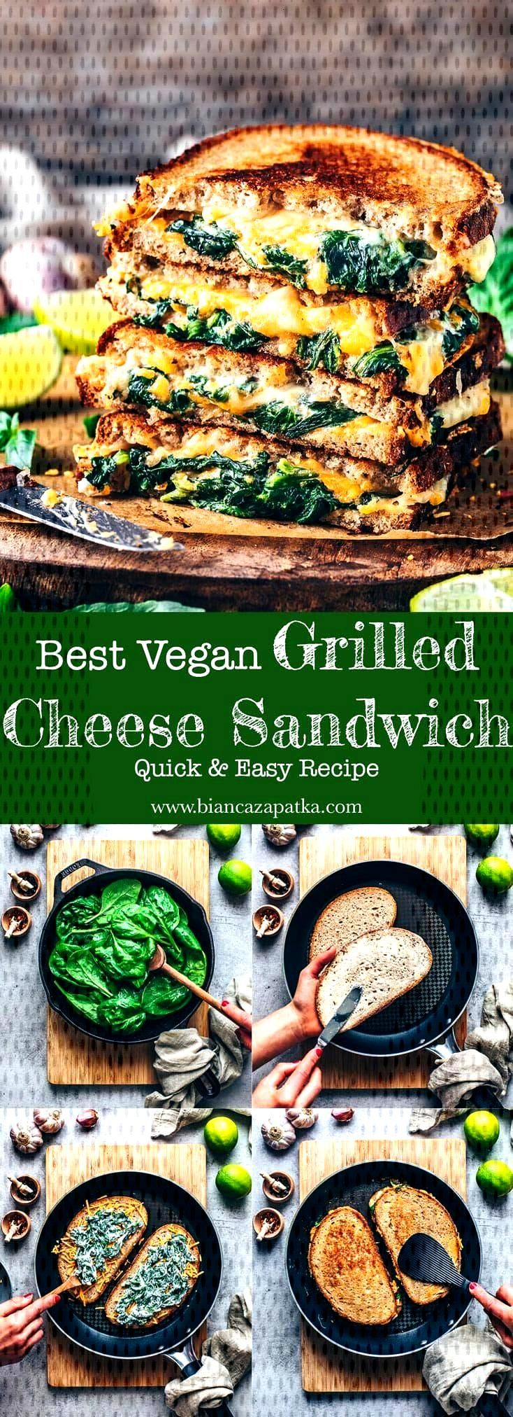 Vegan Grilled Cheese Sandwich Recipe | Easy - Bianca Zapatka | Recipes  - Healthy dinner -