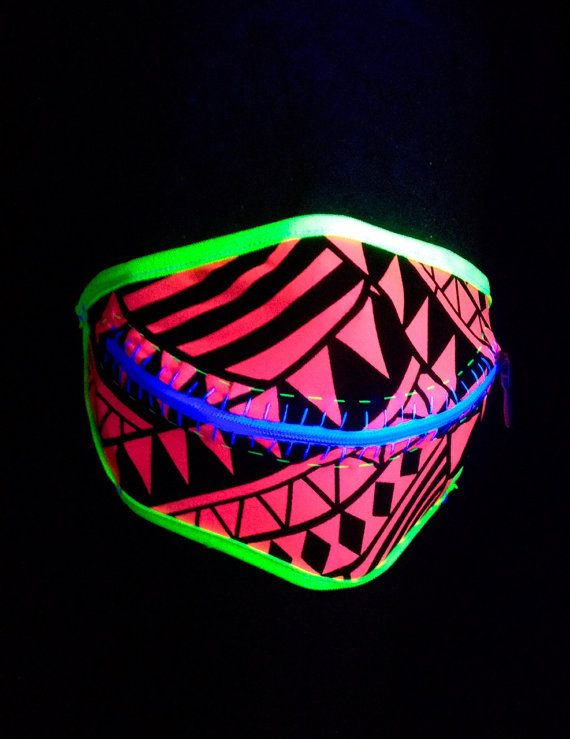 Neon Tropics zipper mask with ear loops for by madebyjulianne