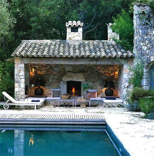 Backyard Pool Pool House: Mediterranean, Rustic