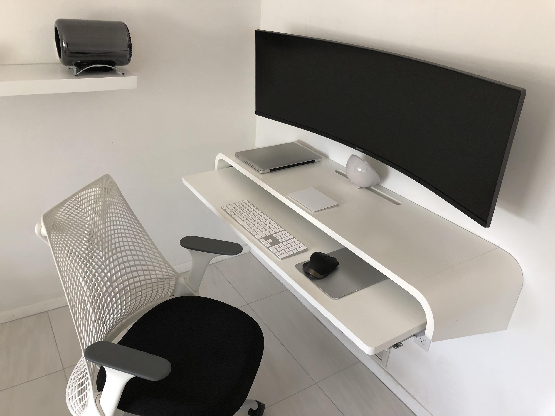 Modern Mac Desk Setup Floating Desk Mac Desk Work Space