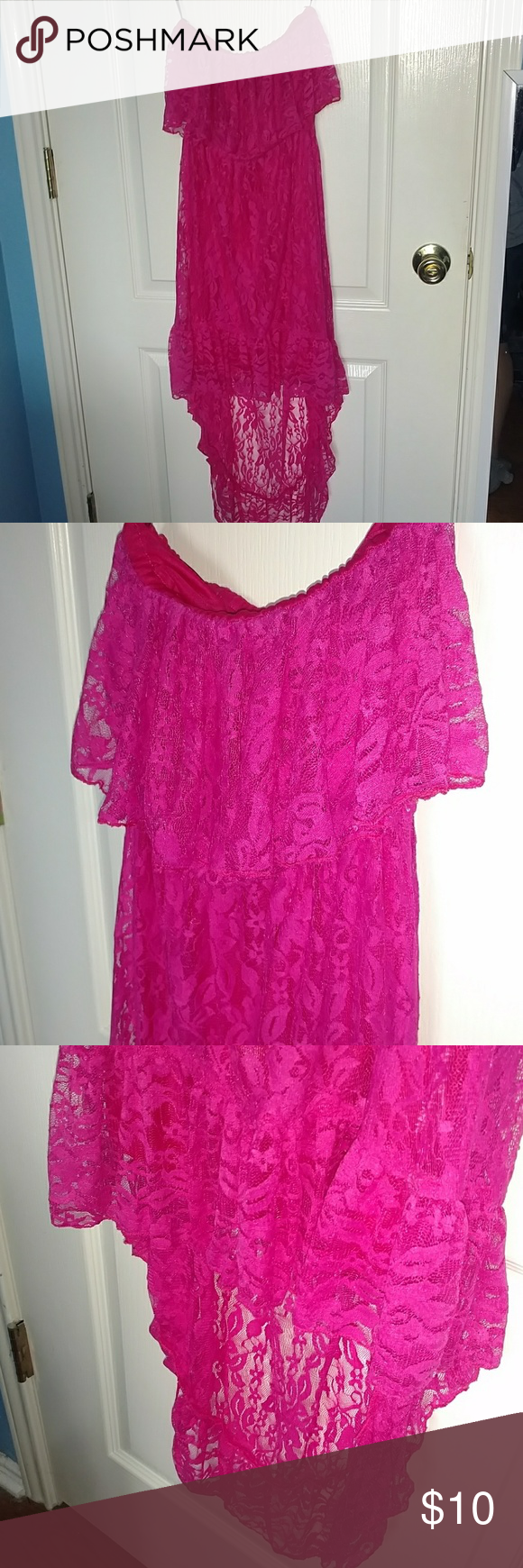 Flirty hot pink lacy strapless summer dress Very flirty and fun ...