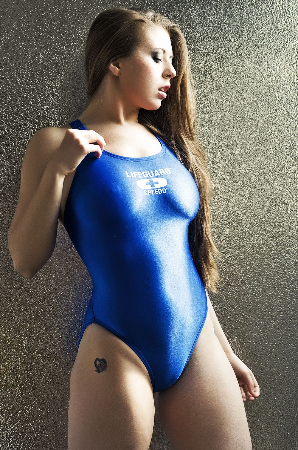 Sexy In Blue One Piece Swimsuit  Shiny Swimsuits -9651