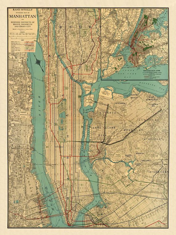 Map of Manhattan   Old map of Manhattan New York   Manhattan map