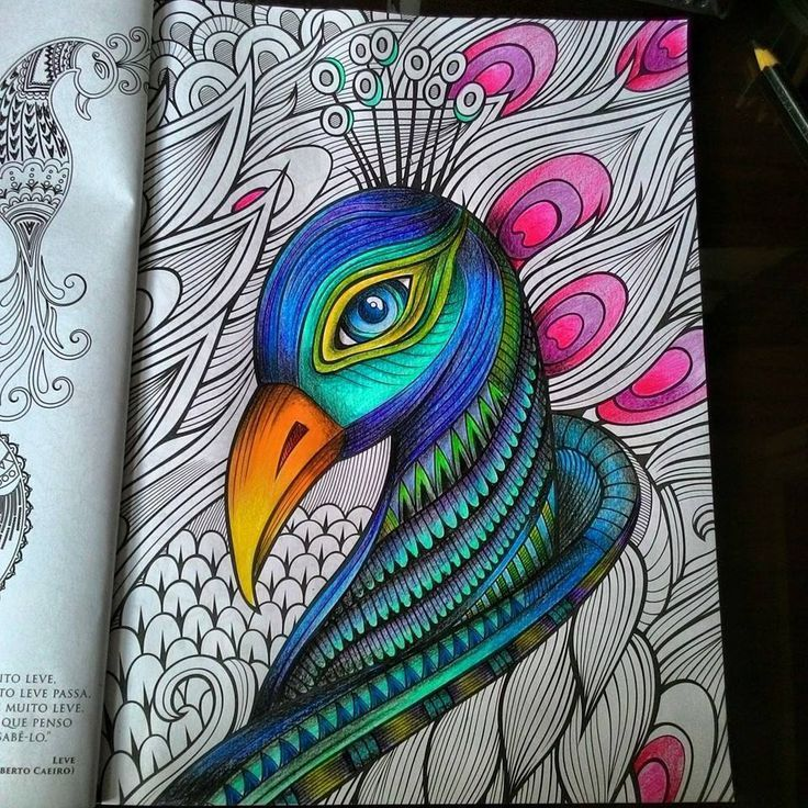 Inspirational coloring pages from secret garden enchanted for Peacock crafts for adults