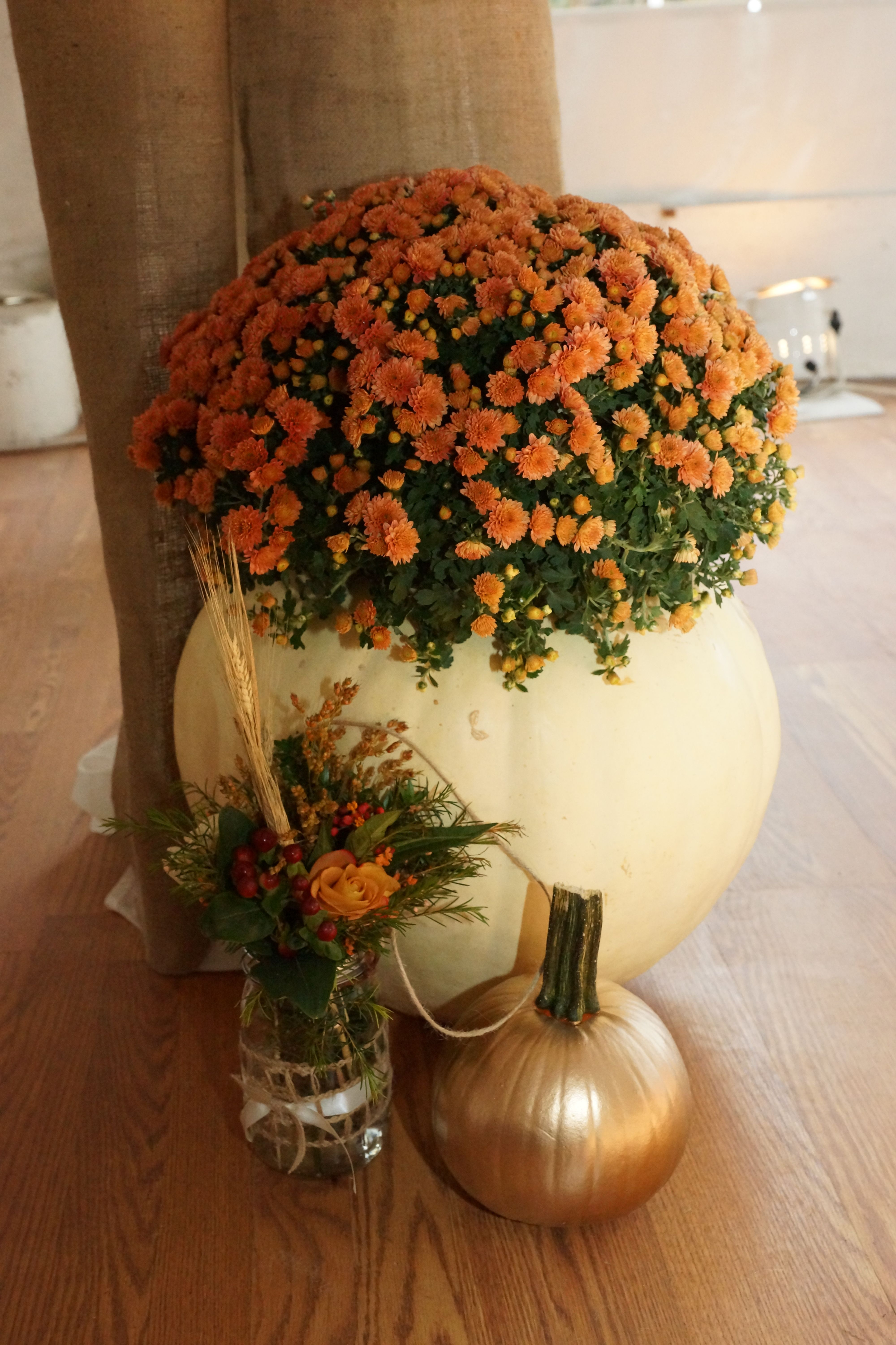 Fall wedding decor large cleaned out pumpkin with a Flower painted pumpkins