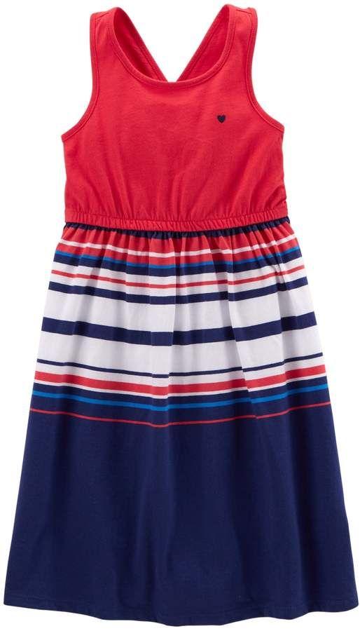 bc2134cf11b0 Toddler Girl Carter s Patriotic Striped Dress