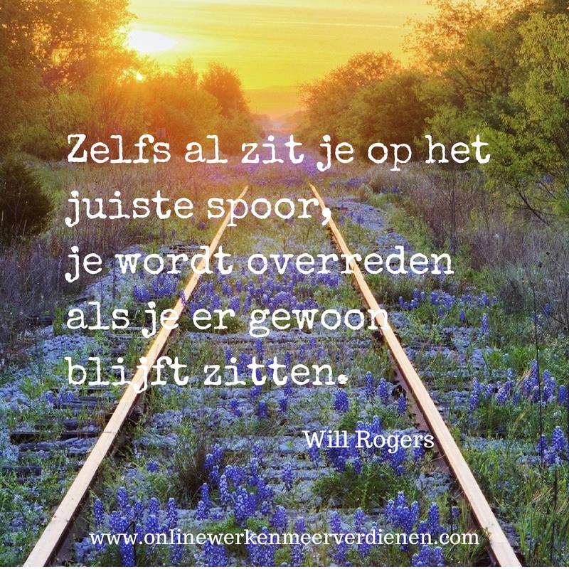 """""""Ook al zit je op het juiste spoor, je wordt overreden als je er blijft zitten"""" Will Rogers. Zit jij op het juiste spoor? http://bit.ly/1hsO9qm"""