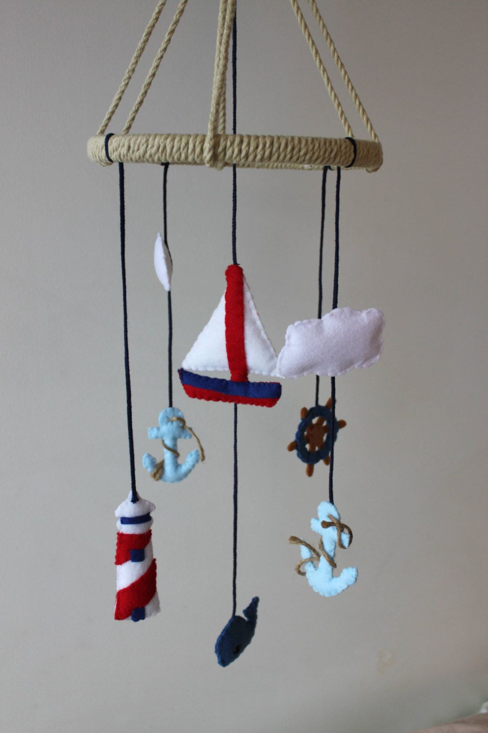 Anchor ornaments - Nautical Baby Mobile Sail Boat Anchor Ocean Whale Baby Boy