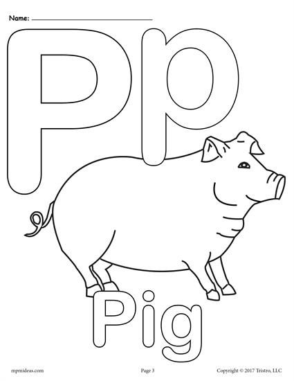 Letter P Alphabet Coloring Pages - 3 FREE Printable ...