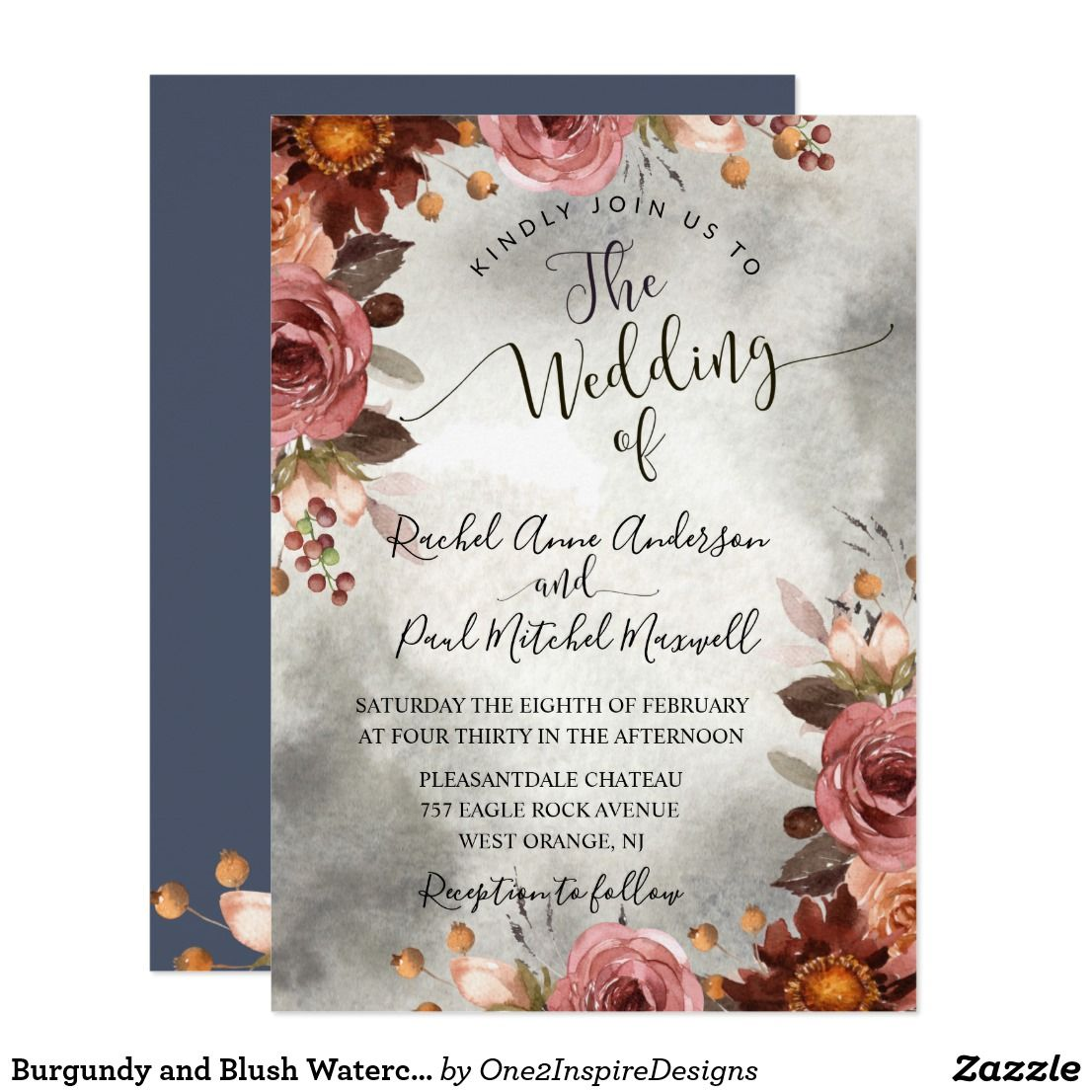 Burgundy And Blush Watercolor Floral Wedding Invitation Gorgeous