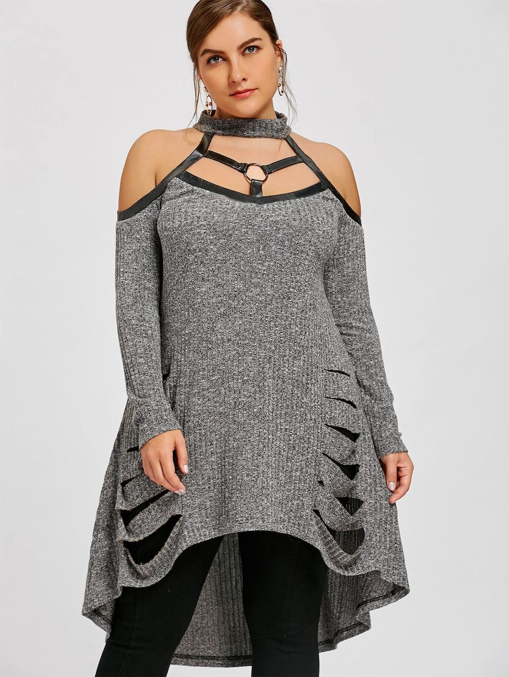 8a7d53efffba5 Plus Size Open Shoulder Ripped Tunic Top - GRAY XL