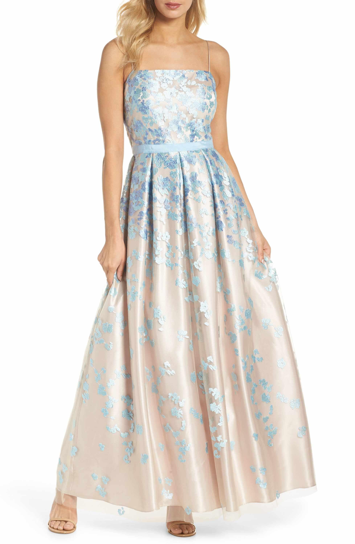55c93b238bd2 Main Image - Eliza J Floral Embroidered Box Pleat Ballgown | 2021 ...