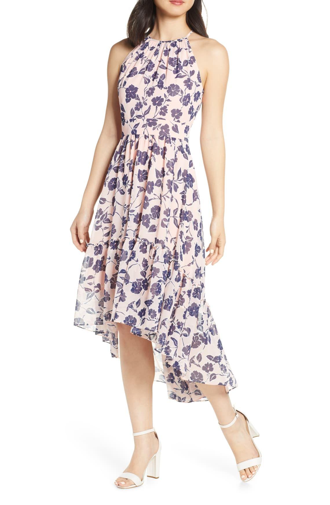 Eliza J Floral Ruffle High/Low Halter Dress