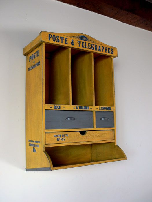 Meuble Courrier Poste Jaune Patiné, Déco Rétro, Natives | Deco